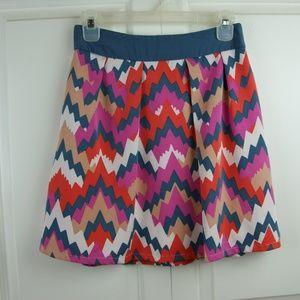 Annabella Lined Zip Mini Skirt Multicolor S EUC